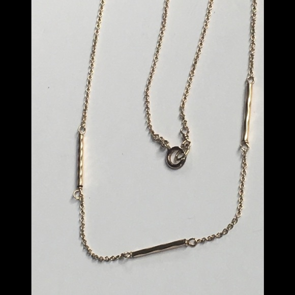 Real ? Gold chain necklace 3 twist bar tube beads